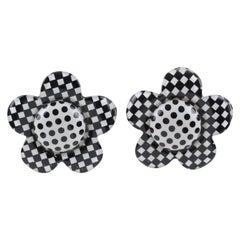 Italian Artisan Designer Lucite Clip on Earrings B & W Checkerboard Daisy Flower