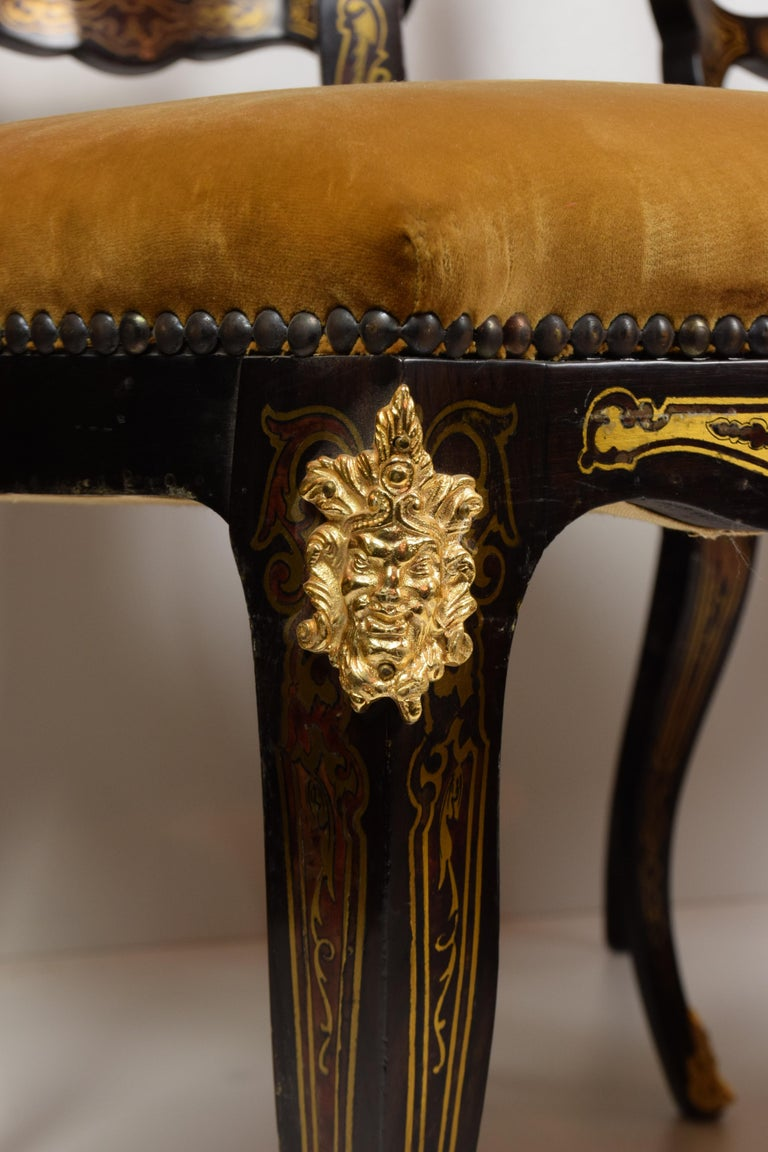Italian Artisan Reproduction of the 1960s Game Table with 4 Chairs Wood Brass For Sale 12