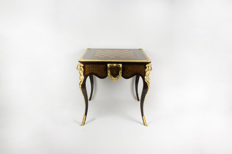Napoleon III Italian Artisan Reproduction of the 1960s Game Table with 4 Chairs Wood Brass For Sale