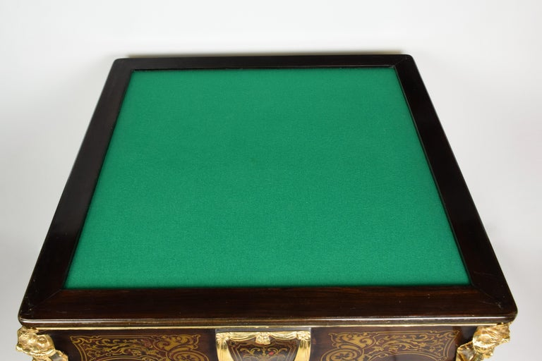 Mid-20th Century Italian Artisan Reproduction of the 1960s Game Table with 4 Chairs Wood Brass For Sale