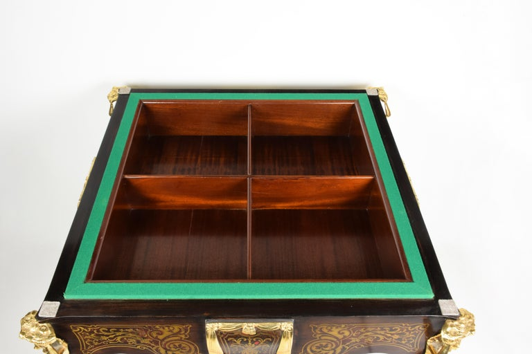 Ormolu Italian Artisan Reproduction of the 1960s Game Table with 4 Chairs Wood Brass For Sale