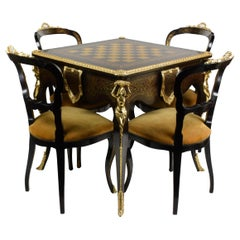 Italian Artisan Reproduction of the 1960s Game Table with 4 Chairs Wood Brass