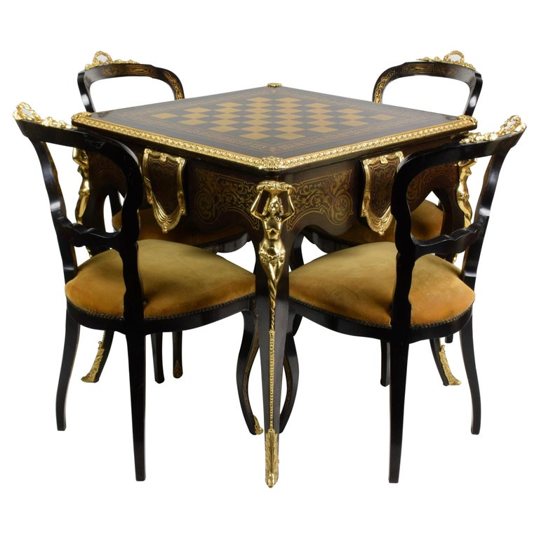 Italian Artisan Reproduction of the 1960s Game Table with 4 Chairs Wood Brass For Sale
