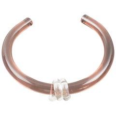 Italian Artisan Studio Copper Pink Lucite Rigid Dog Collar Necklace