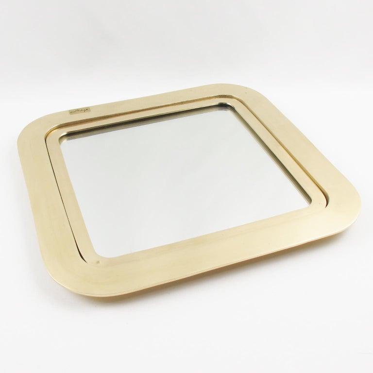 Italian Artist Esa Fedrigolli Large Gilded Bronze Tray Platter In Excellent Condition For Sale In Atlanta, GA