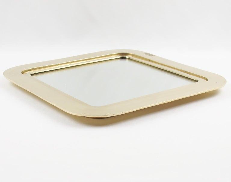 Late 20th Century Italian Artist Esa Fedrigolli Large Gilded Bronze Tray Platter For Sale