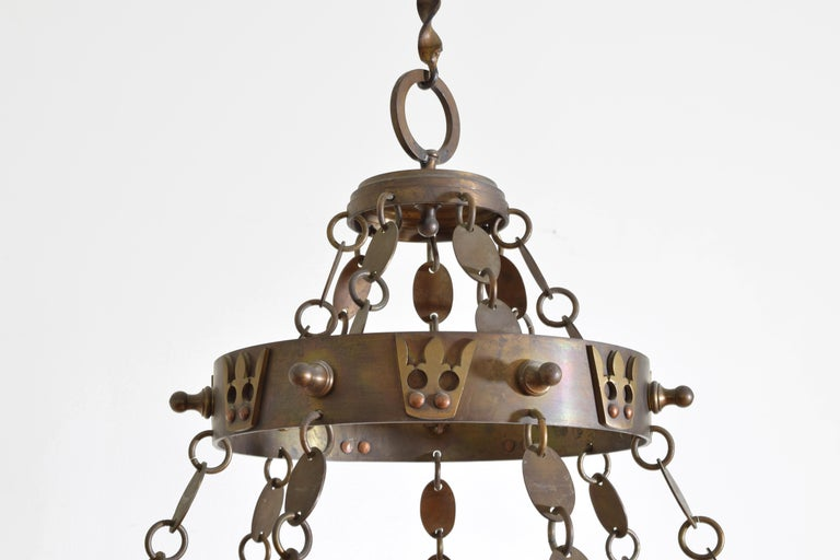 Italian Arts & Crafts Period Brass 14-Light Chandelier, circa 1900, UL Wired For Sale 1