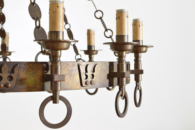 Italian Arts & Crafts Period Brass 14-Light Chandelier, circa 1900, UL Wired For Sale 4