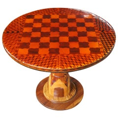 Italian Arts & Crafts Chess Checkers Side End Accent Game Table Round Parquetry