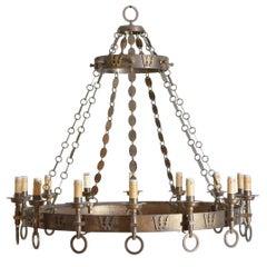 Italian Arts & Crafts Period Brass 14-Light Chandelier, circa 1900, UL Wired