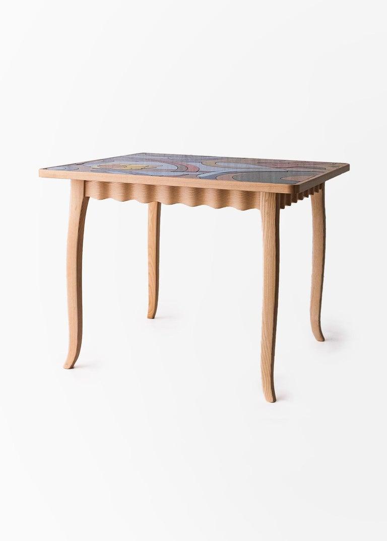Mid-Century Modern Italian Ashwood Table with Enameled Lava Stone Top