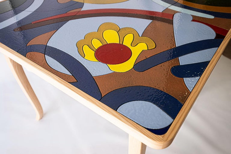 Contemporary Italian Ashwood Table with Enameled Lava Stone Top
