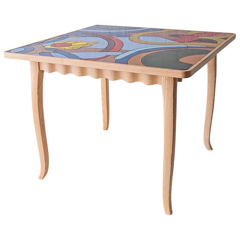 "Italian Ashwood Table with Enameled Lava Stone Top ""U Signurinu"" by MYOP For Sale"