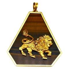 Italian Astrological Zodiac Leo Yellow Gold Tiger's Eye Pendant