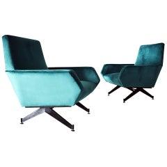 Italian Back Metal Legs and Green Velvet Armchairs, 1960s