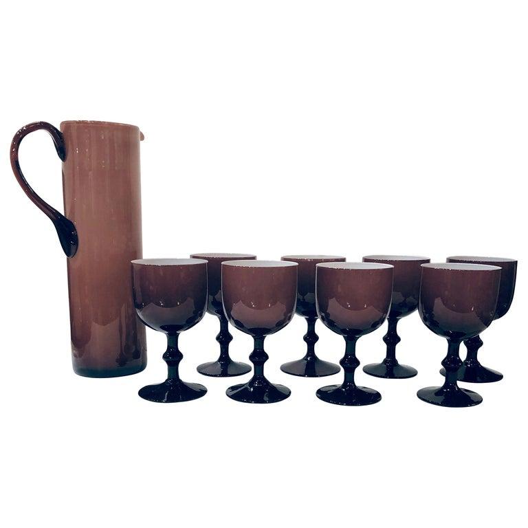 Italian Balboa Deep Purple & White Encased Venetian Glass Pitcher with 8 Goblets For Sale