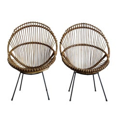 Italian Bamboo and Black Metal Chairs Armchairs, 1960s