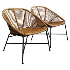 Italian Bamboo and Bllack Metal Chairs Armchairs, 1960s
