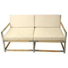 ITALIAN BAMBOO AND CHROME SOFA, circa 1970