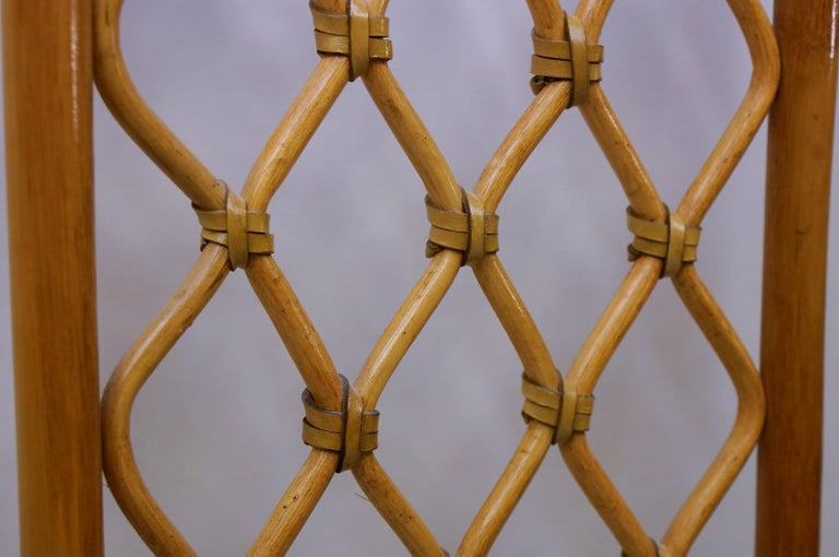 Mid-Century Modern Italian Bamboo and Leather Coat Wall Rack, 1960s For Sale