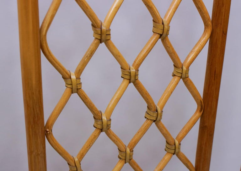 Italian Bamboo and Leather Coat Wall Rack, 1960s In Good Condition For Sale In Nürnberg, Bayern