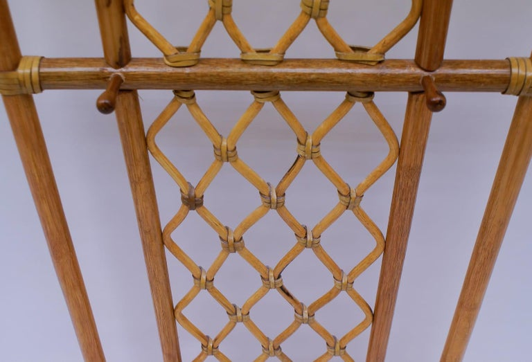 Mid-20th Century Italian Bamboo and Leather Coat Wall Rack, 1960s For Sale