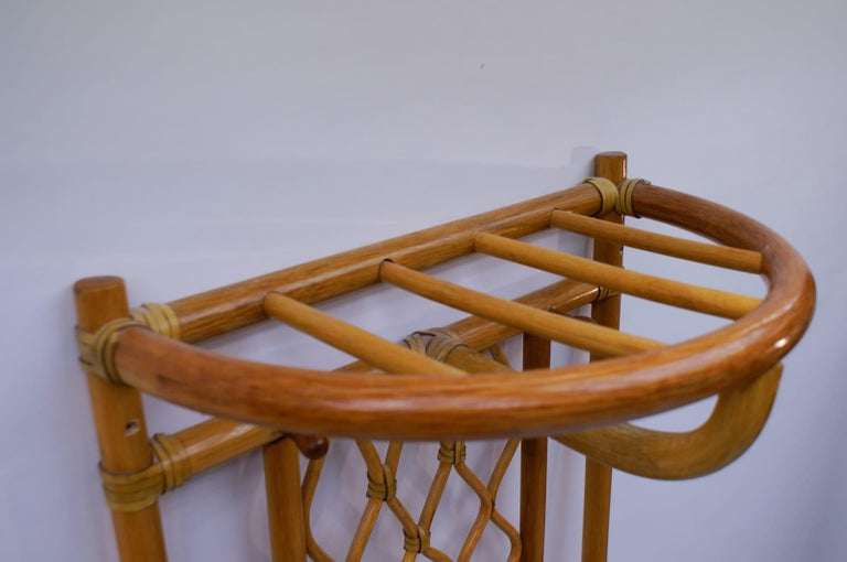 Italian Bamboo and Leather Coat Wall Rack, 1960s For Sale 1