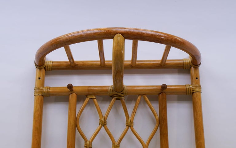 Italian Bamboo and Leather Coat Wall Rack, 1960s For Sale 2