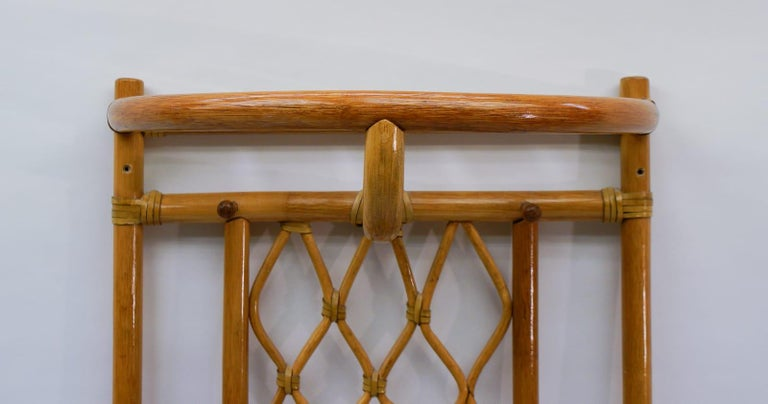 Italian Bamboo and Leather Coat Wall Rack, 1960s For Sale 3