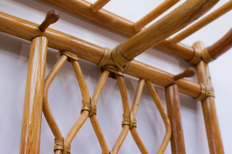 Italian Bamboo and Leather Coat Wall Rack, 1960s For Sale 4