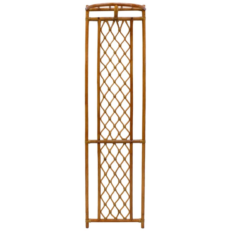 Italian Bamboo and Leather Coat Wall Rack, 1960s For Sale