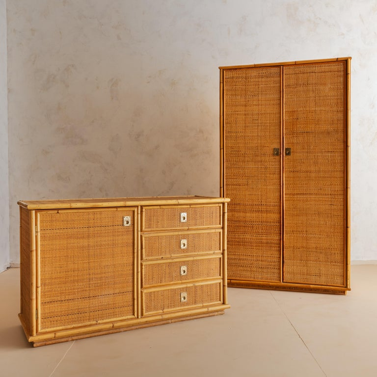 Italian Bamboo and Rattan Dresser, 1970s  For Sale 5