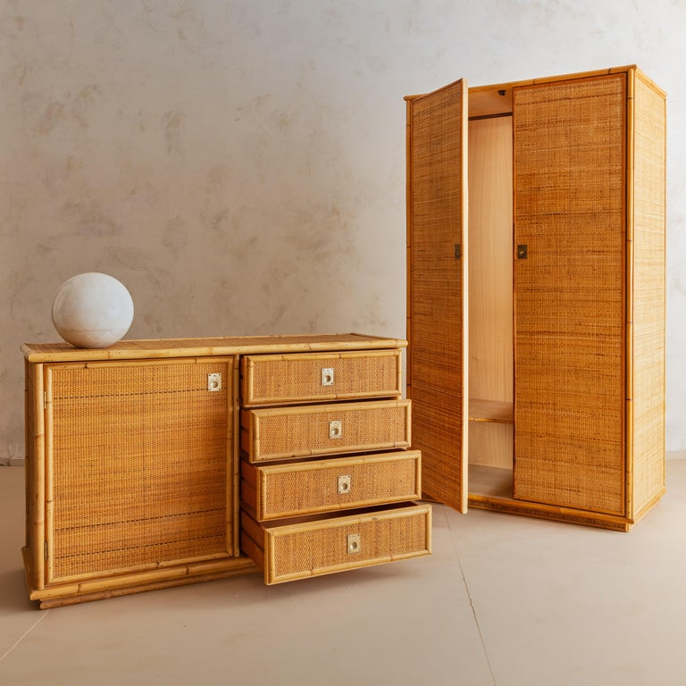 Italian Bamboo and Rattan Dresser, 1970s  For Sale 6