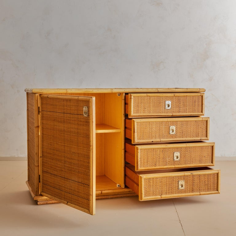 Italian Bamboo and Rattan Dresser, 1970s  In Good Condition For Sale In Chicago, IL