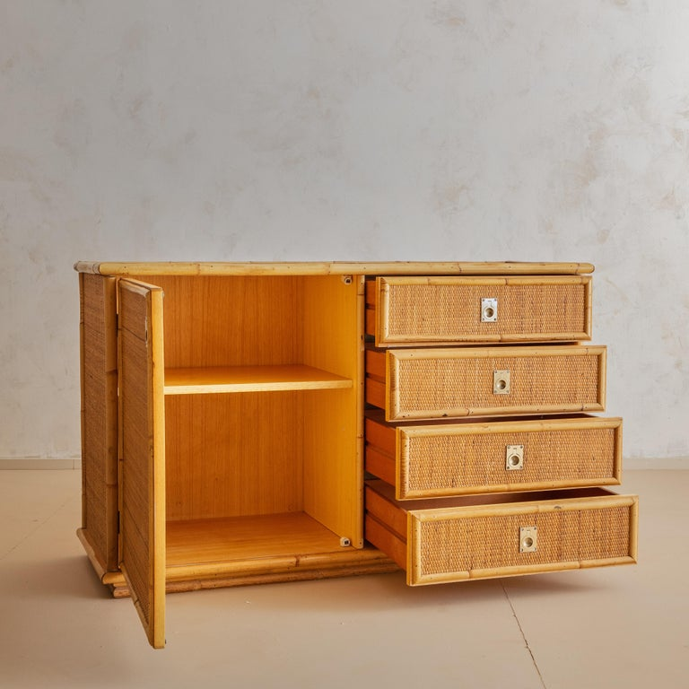 Late 20th Century Italian Bamboo and Rattan Dresser, 1970s  For Sale