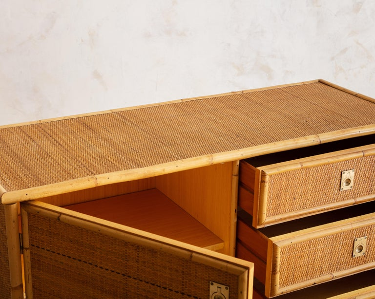 Italian Bamboo and Rattan Dresser, 1970s  For Sale 1