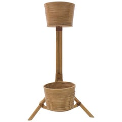 Italian Bamboo and Rattan Flower Stand or Plant Holder, 1950s