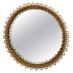 Italian Bamboo and Rattan Mirror, 1960s