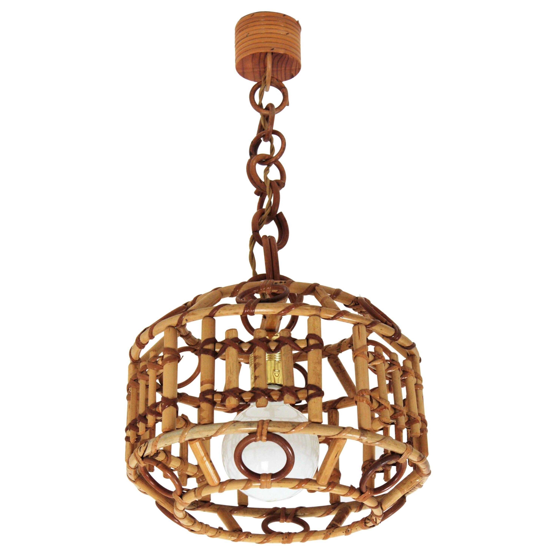 Italian Bamboo and Rattan Modernist Pendant Hanging Lamp, 1960s