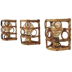 Italian Bamboo and Rattan Modernist Wall Sconces, Set of Three