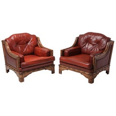 Italian Bamboo and Red Leather Easy Chairs