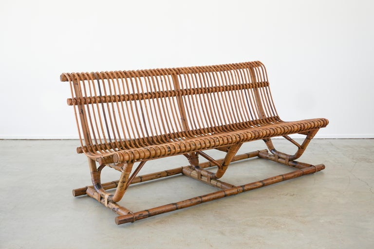 Italian Bamboo Bench 'Pair Available' In Good Condition For Sale In Los Angeles, CA