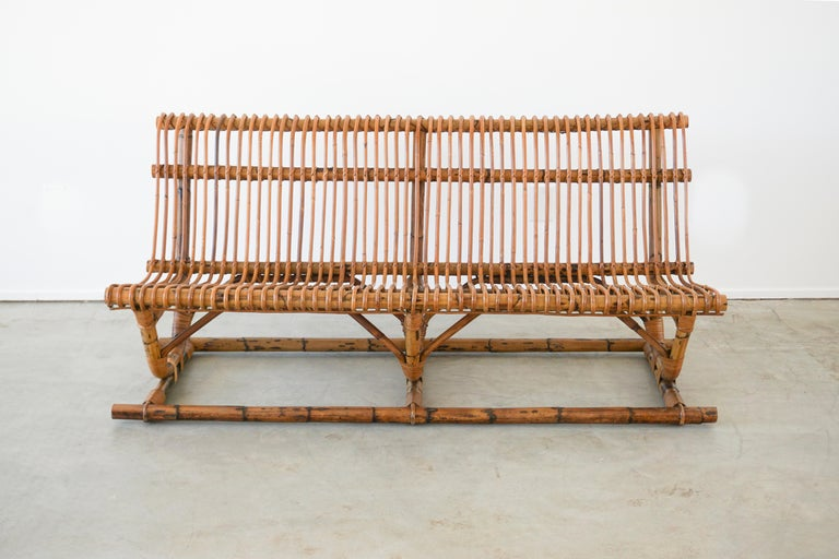 Mid-20th Century Italian Bamboo Bench 'Pair Available' For Sale