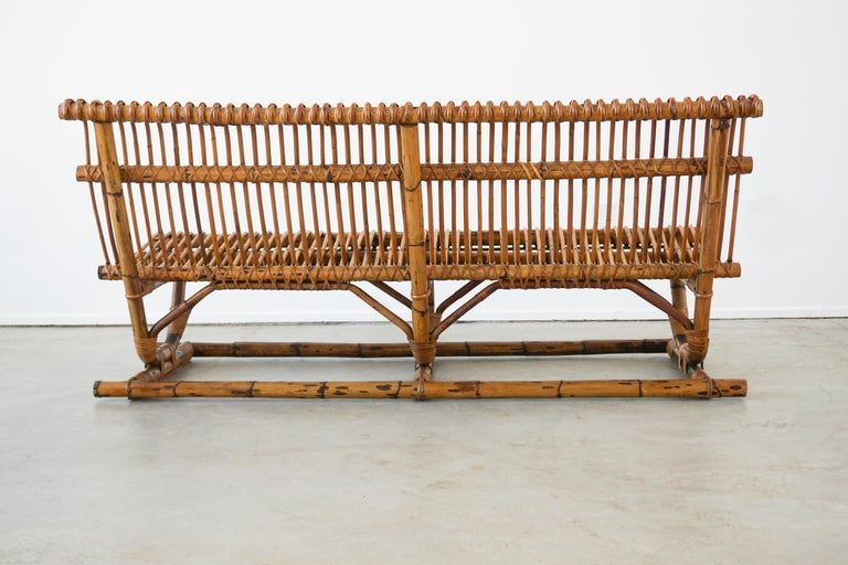 Italian Bamboo Bench 'Pair Available' For Sale 4