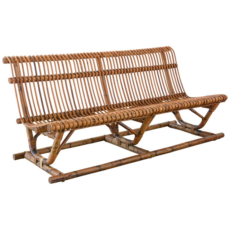 Italian Bamboo Bench 'Pair Available' For Sale