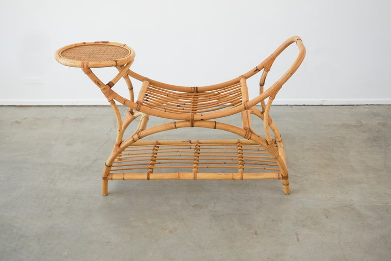 Mid-20th Century Italian Bamboo Benches w/ Table For Sale