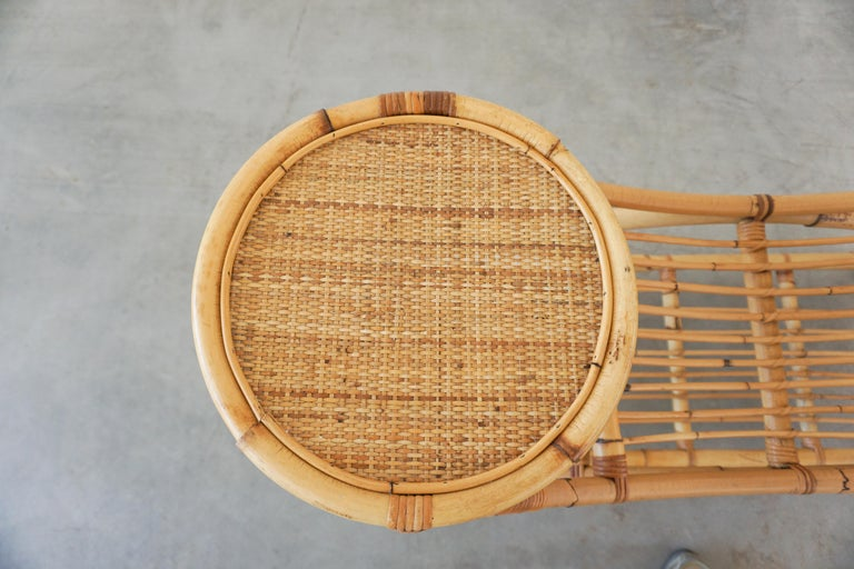 Italian Bamboo Benches w/ Table For Sale 2