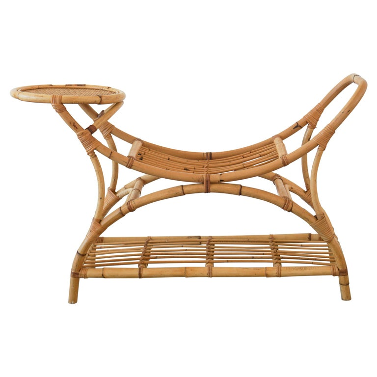 Italian Bamboo Benches w/ Table For Sale