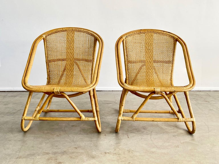 Italian Bamboo Chairs In Good Condition For Sale In Los Angeles, CA