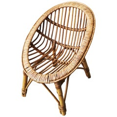 Italian Bamboo Children or Kids Chair Midcentury Style, Oval Shape, 1950s